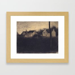 Georges Seurat - Landscape with Houses - Rare Retro Vintage Drawing Framed Art Print