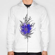 Blue Flower Feather Hoody
