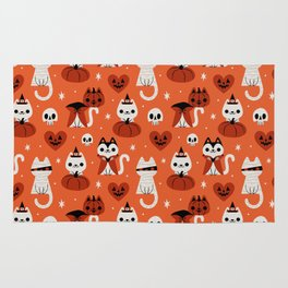 Halloween Kitties (Orange) Rug