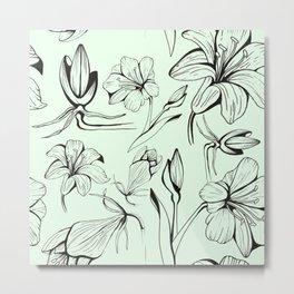 Botanical Amaryllis Metal Print