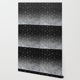 Silver Geometric Cubes Trendy White Grey Marble Wallpaper