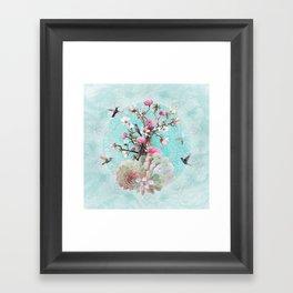 FLORAL HUMMINGBIRD Framed Art Print
