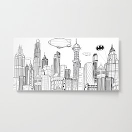 Gotham City Skyline Metal Print