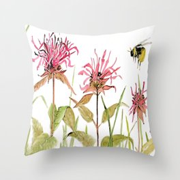 Flowers Bee Balm Pink Garden Wildflowers Nature Art Throw Pillow