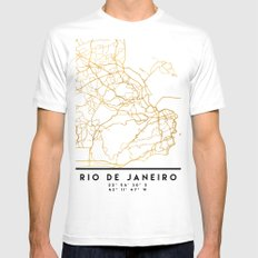 RIO DE JANEIRO BRAZIL CITY STREET MAP ART White Mens Fitted Tee MEDIUM