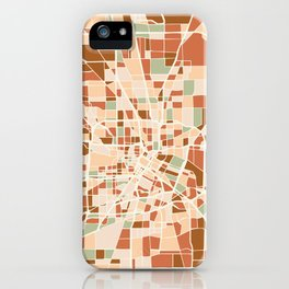 HOUSTON TEXAS CITY MAP EARTH TONES iPhone Case