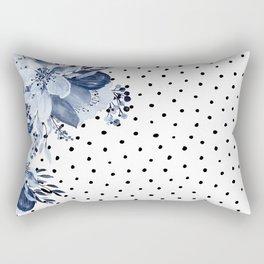 Boho Blue Flowers and Polka Dots Rectangular Pillow