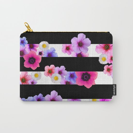 Flowers and Stripes 3 Carry-All Pouch