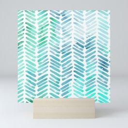 Handpainted Chevron pattern - light green and aqua - stripes Mini Art Print