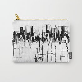 Black and White Cityscape Carry-All Pouch