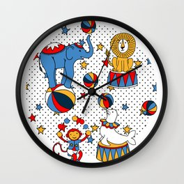 Little Circus Stars on White Wall Clock