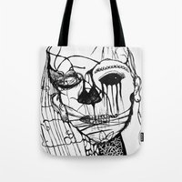 psycho Tote Bags featuring ~psycho by alexisdarkness