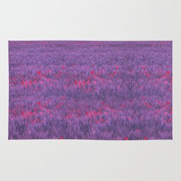 purple poppy field I Rug