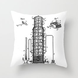Whisky Patent - Whisky Still Art - Black And White Throw Pillow