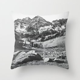 Maroon Bells Black and White Throw Pillow