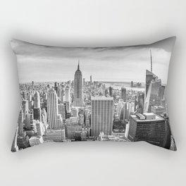 New York City Cityscape (Black and White) Rectangular Pillow