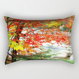 Majestic Autumn Trees in Forest With Rushing Stream Rectangular Pillow