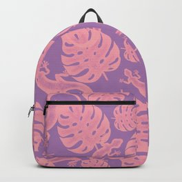 Tropical exotic monstera leaves and lizards distressed lovely powder dusty pink and mauve heather purple design. Gift ideas for nature, animal and plant lovers. Botanical pattern. Backpack