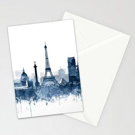 Paris City Skyline Watercolor Blue by zouzounioart Stationery Cards