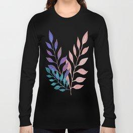 Monochrome Leaf Arrangement (Teal) Long Sleeve T-shirt