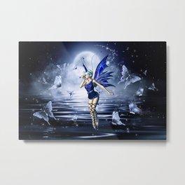 Blue Fairy and Butterflies Metal Print