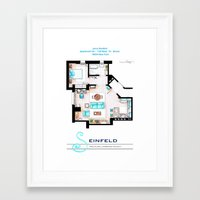 seinfeld Framed Art Prints featuring Jerry Seinfeld Apartment v2 by nikneuk