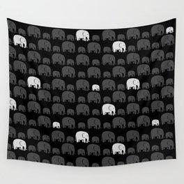 Elephant Black Wall Tapestry
