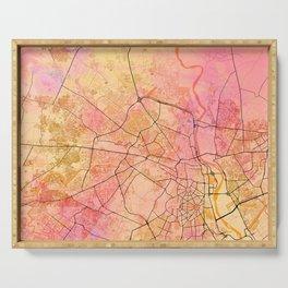 Delhi India Street Map Art Watercolor Color Serving Tray