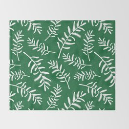 Forest green and white pattern with olive branches Throw Blanket