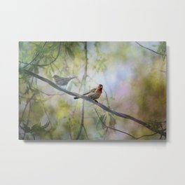 Finches In Springtime Metal Print