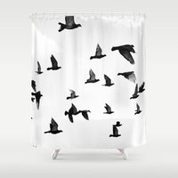 fly Shower Curtains featuring fly by Deviens