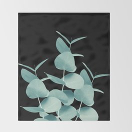 Eucalyptus Leaves Green Black #1 #foliage #decor #art #society6 Throw Blanket