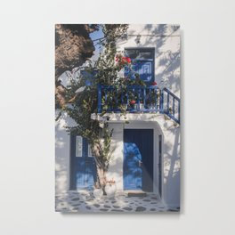 Cityview in Mykonos town | Mykonos Greece Travel Photography | Blue white Photo Print Metal Print