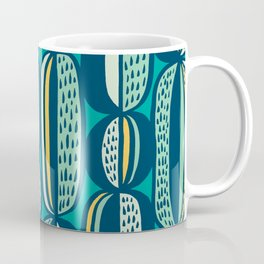 Blue Cactus Garden // mid century modern pattern Coffee Mug