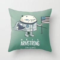 neil gaiman Throw Pillows featuring Neil Armstrong (as a cat) by Mr Scotch
