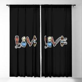 Vintage Barber Love design Hairdresser Gift Blackout Curtain