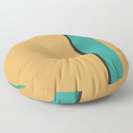 A soft consistency of Earth Yellow, Raisin Black, Sea and Sea vertical stripes. Floor Pillow