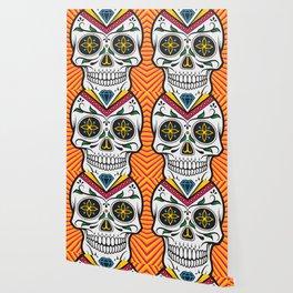 High Rolling In Your Face Dias De Los Muertos Smiling Skull Wallpaper
