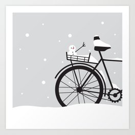 Bicycle & snow Art Print