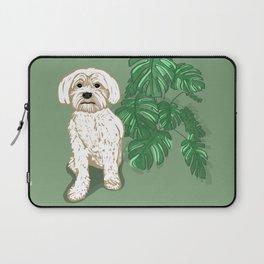 White Havanese dog and Monstera Deliciosa Laptop Sleeve