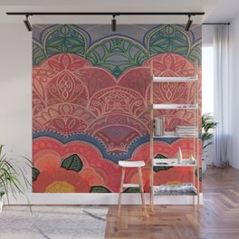 Double Vision Pink Mandala Flower Wall Mural