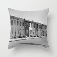 baltimore Throw Pillows featuring East Baltimore by Andrew Mangum
