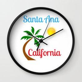 Santa Ana California Palm Tree and Sun Wall Clock