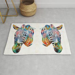 Colorful Zebra Face by Sharon Cummings Rug