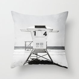 Black and White Beach Photography, Grey Lifeguard Stand, Gray Coastal Nautical Art Throw Pillow