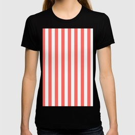 Narrow Vertical Stripes - White and Pastel Red T-shirt