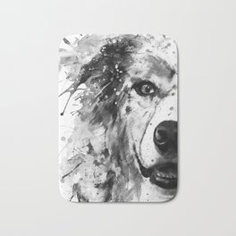 Australian Shepherd Dog Half Face Portrait Bath Mat