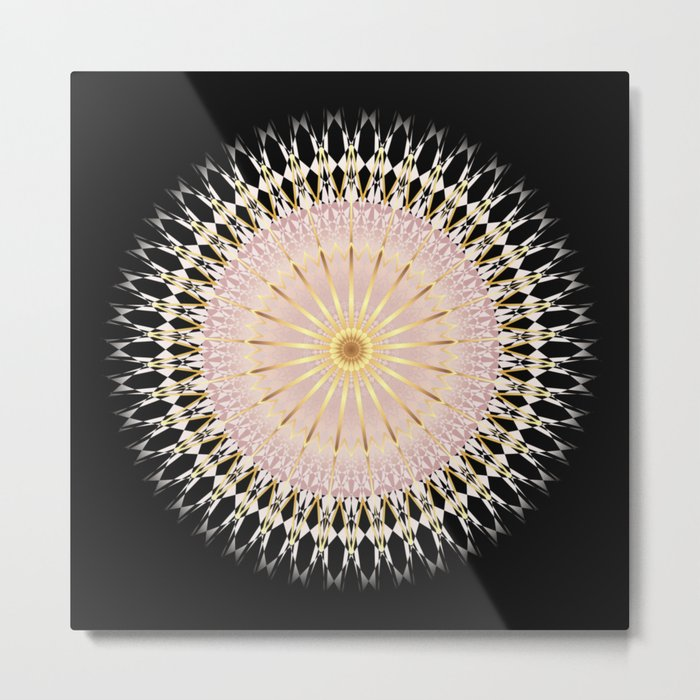 Blush Gold Black Mandala Metal Print