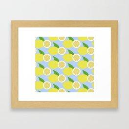Lemon fruits on blue Framed Art Print
