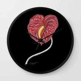 Anthurium 01b Botanical Flower * Red Heart Valentine Wall Clock